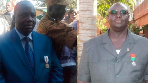 Idrissa Tinto, Chevalet de l'Ordre du Mérite Burkinabé (g) et Serge Tibirou, Chevalet de l'Ordre National (d)