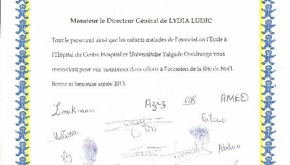 Lettre de remerciements à Lydia Ludic