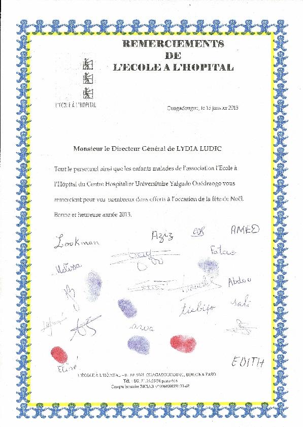 Les enfants de l'École à l'hôpital remercientLydia Ludic Burkina Faso - Décembre 2012