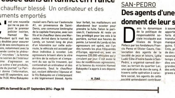 Don du sang de Lydia Ludic Côte d'Ivoire · Coupure de presse de le quotidien ivoirien L'Inter, Nº4874, du 7 septembre 2014