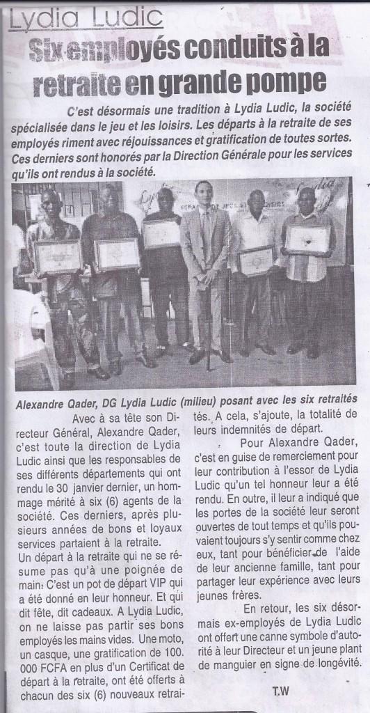 Article publié sur le journal togolais le Canard Indépendant