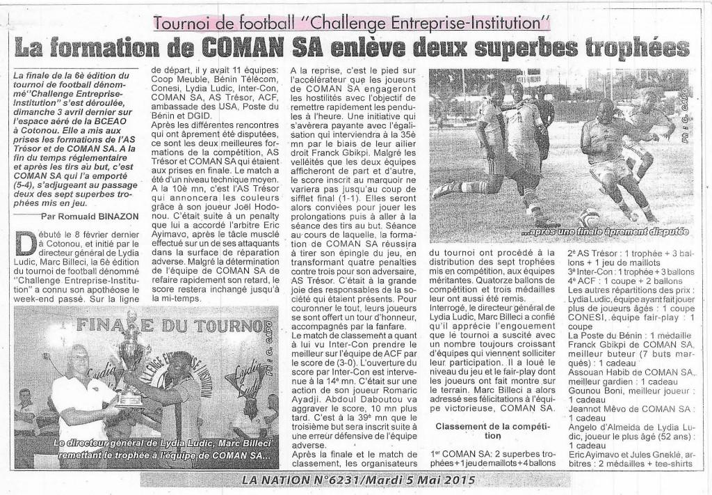 Quotidiens La Nation Nº6231 - Lydia Ludic Bénin a organisé la 6e édition du Challenge Entreprises et Institutions