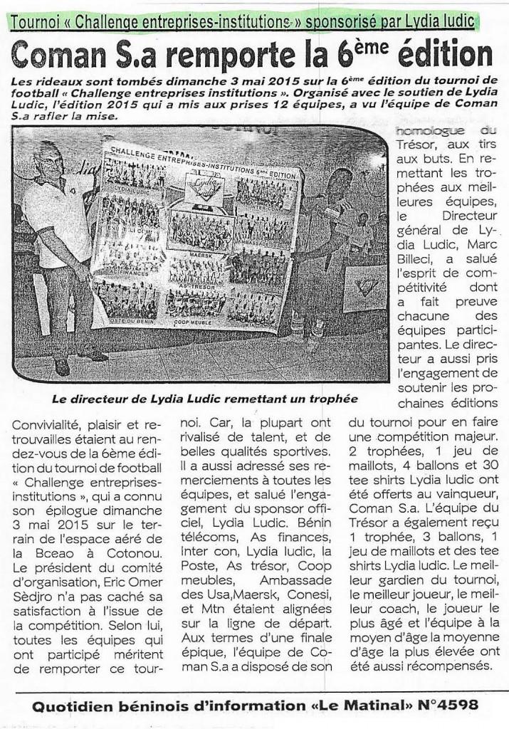 Quotidiens Le Matinal Nº4598 - Lydia Ludic Bénin a organisé la 6e édition du Challenge Entreprises et Institutions