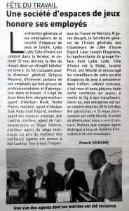 Quotidien Inter Nº 5069 - Lydia Ludic Côte d'Ivoire a récompensé ses agents pour la fête du travail