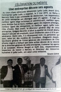 Quotidien Soir Info Nº 6177 - Lydia Ludic Côte d'Ivoire a récompensé ses agents pour la fête du travail
