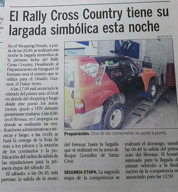Lydia Ludic Paraguay sponsorise le Championnat Paraguayen de Rally Cross Country - Agosto 2015