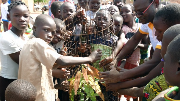 Action environnementale de Lydia Ludic Burkina Faso avec les élèves de l'école primaire Songba, dans le quartier Pissy, à Ouagadougou