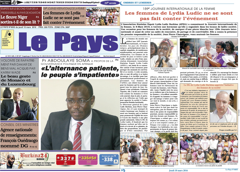 16-03-Lydia-Ludic-Burkina-Faso-Ouagadougou-CSR-interne-présentation-voeux-journee-femme-presse-Le-Pays-1