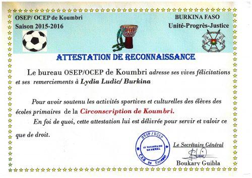 Lydia Ludic Burkina Faso a offert son soutien à l'OSEP de Koumbri