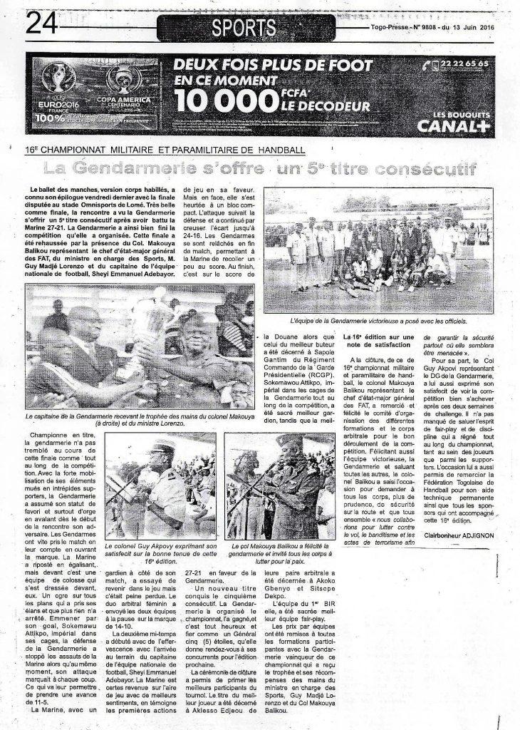 Togo-Presse n° 9808 (lundi 13 juin 2016) : La Gendarmerie s'offre un 5e titre consécutif
