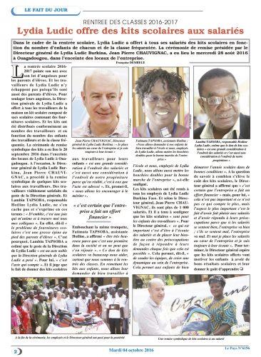 EDUCATION - Lydia Ludic Burkina Faso dans le quotidien burkinabé Le Pays n° 6196 (4 octobre 2016) : Lydia Ludic offre des kits scolaires aux salariés