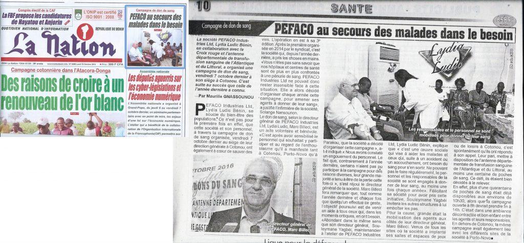Lydia Ludic Bénin organise une campagne de don du sang à Cotonou