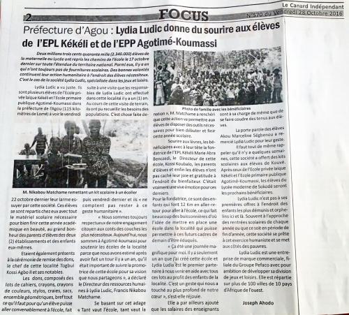 Éducation – Lydia Ludic Togo dans le quotidien togolais Le Canard Indépendant n° 570 (28 octobre 2016 ) : Lydia Ludic donne du sourire aux élèves de l'EPL Kékéli et de l'EPP Agotimé-Koumassi