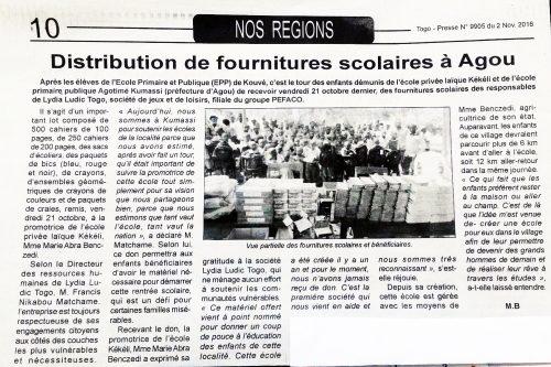 Éducation – Lydia Ludic Togo dans le quotidien togolais Togo-presse n° 9905 (02 novembre 2016 ) : Distribution de fournitures scolaires à Agou