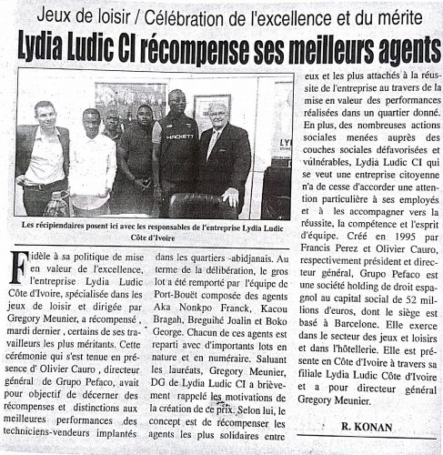 MÉRITE - Lydia Ludic Côte d'Ivoire dans le quotidien ivoirien l'Inter n° 3527 (10 novembre 2016 ) : Lydia Ludic CI récompense ses meilleurs agents