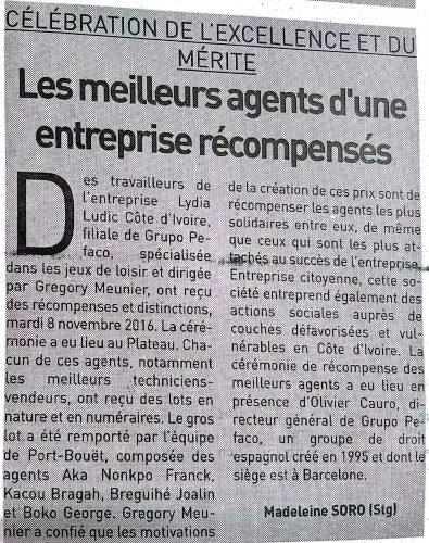 MÉRITE - Lydia Ludic Côte d'Ivoire dans le quotidien ivoirien le Jour n°5518 (10 novembre 2016 ) : Célébration du mérite et de l'excellence : Les meilleurs agents d'une entreprise récompensés