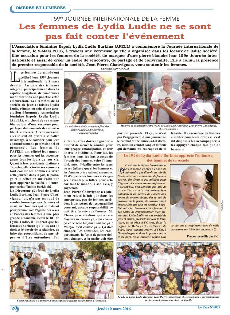 FEMMES – Lydia Ludic Burkina Faso dans le quotidien burkinabé Le Pays n° 6055 (10 mars 2016) : 159e JOURNEE INTERNATIONALE DE LA FEMME - Les femmes de Lydia Ludic ne se font pas compter l'évènement