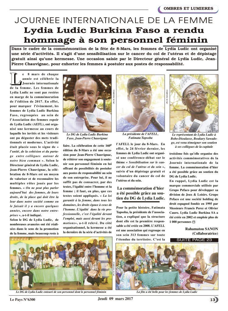Soutien aux femmes – Lydia Ludic Burkina Faso dans le quotidien burkinabé Le Pays n° 6300 (9 mars 2017) : Lydia Ludic Burkina Faso a rendu hommage à son personnel féminin
