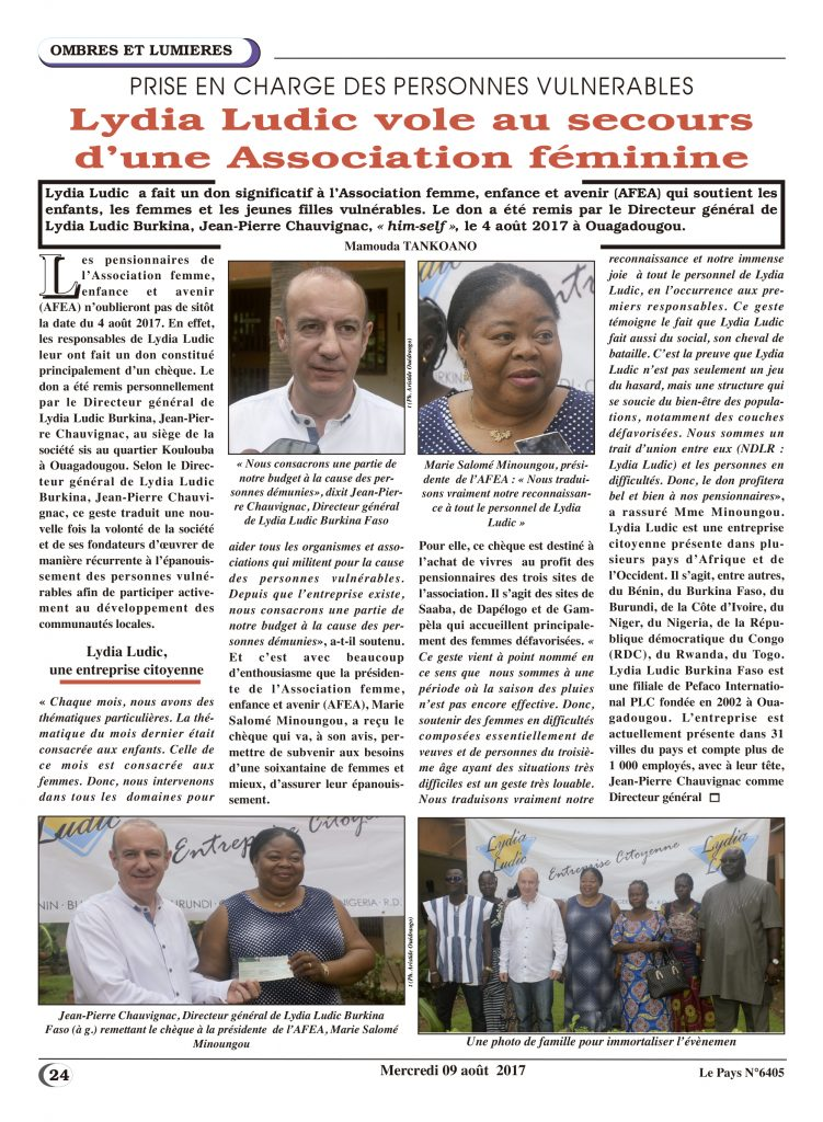Soutien aux femmes – Lydia Ludic Burkina Faso dans le quotidien burkinabé Le Pays n° 6405 (9 août 2017) : Lydia Ludic Burkina Faso vole au secours d'une association féminine