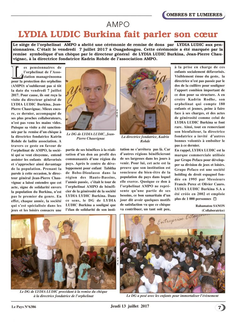Enfants – Lydia Ludic Burkina Faso dans le quotidien burkinabé Le Pays n° 6386 (13 juillet 2017): AMPO - Lydia Ludic BURKINA fait parler son coeur