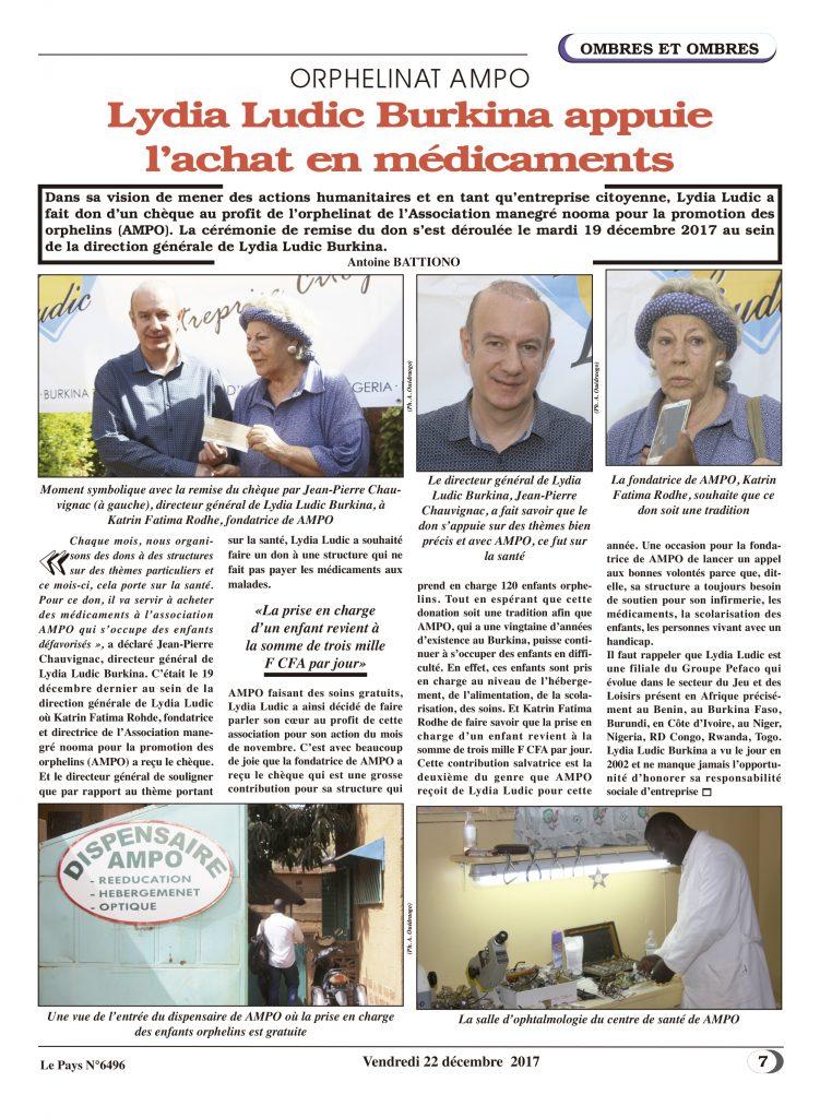 Soutien aux Orphelins – Lydia Ludic Burkina Faso dans le quotidien burkinabé Le Pays n° 6496 (22 décembre 2017) : ORPHELINAT AMPO - Lydia Ludic Burkina Faso appui l'achat en médicaments