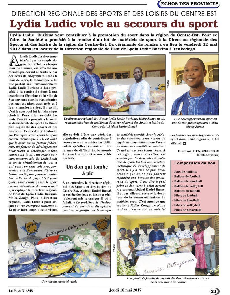 SPORT – Lydia Ludic Burkina Faso dans le quotidien burkinabé Le Pays n° 6348 (18 mai 2017): DIRECTION RÉGIONALE DES SPORTS DU CENTRE-EST - Lydia Ludic vole au secours du sport