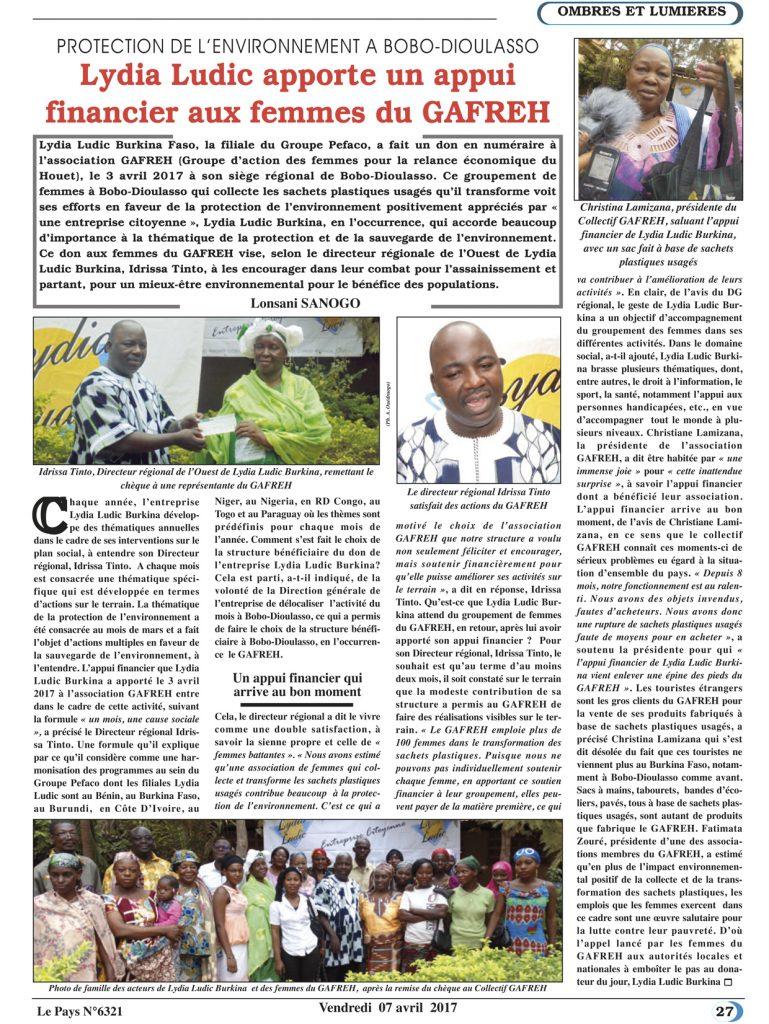 ENVIRONNEMENT – Lydia Ludic Burkina Faso dans le quotidien burkinabé Le Pays n° 6321 (7 avril 2017): PROTECTION DE L'ENVIRONNEMENT À BOBO-DIOULASSO - Lydia Ludic Burkina Faso apporte son appui financier aux femmes du GAFREH