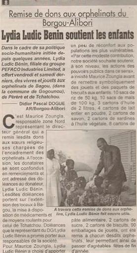 Lydia Ludic Bénin apporte son soutien à septorphelinats - Décembre 2009