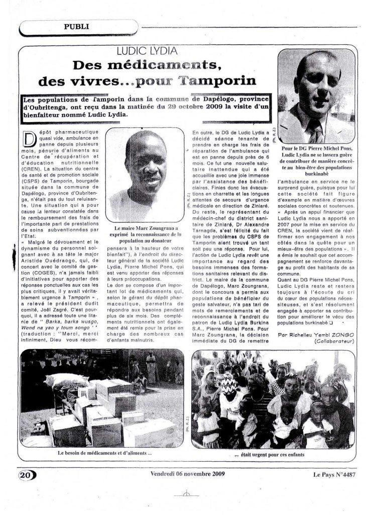 Lydia Ludic dans le journal Le Pays Nº4487 du vendredi 6 novembre 2009 - LYDIA LUDIC - Des médicaments, des vivres...pour Tamporin