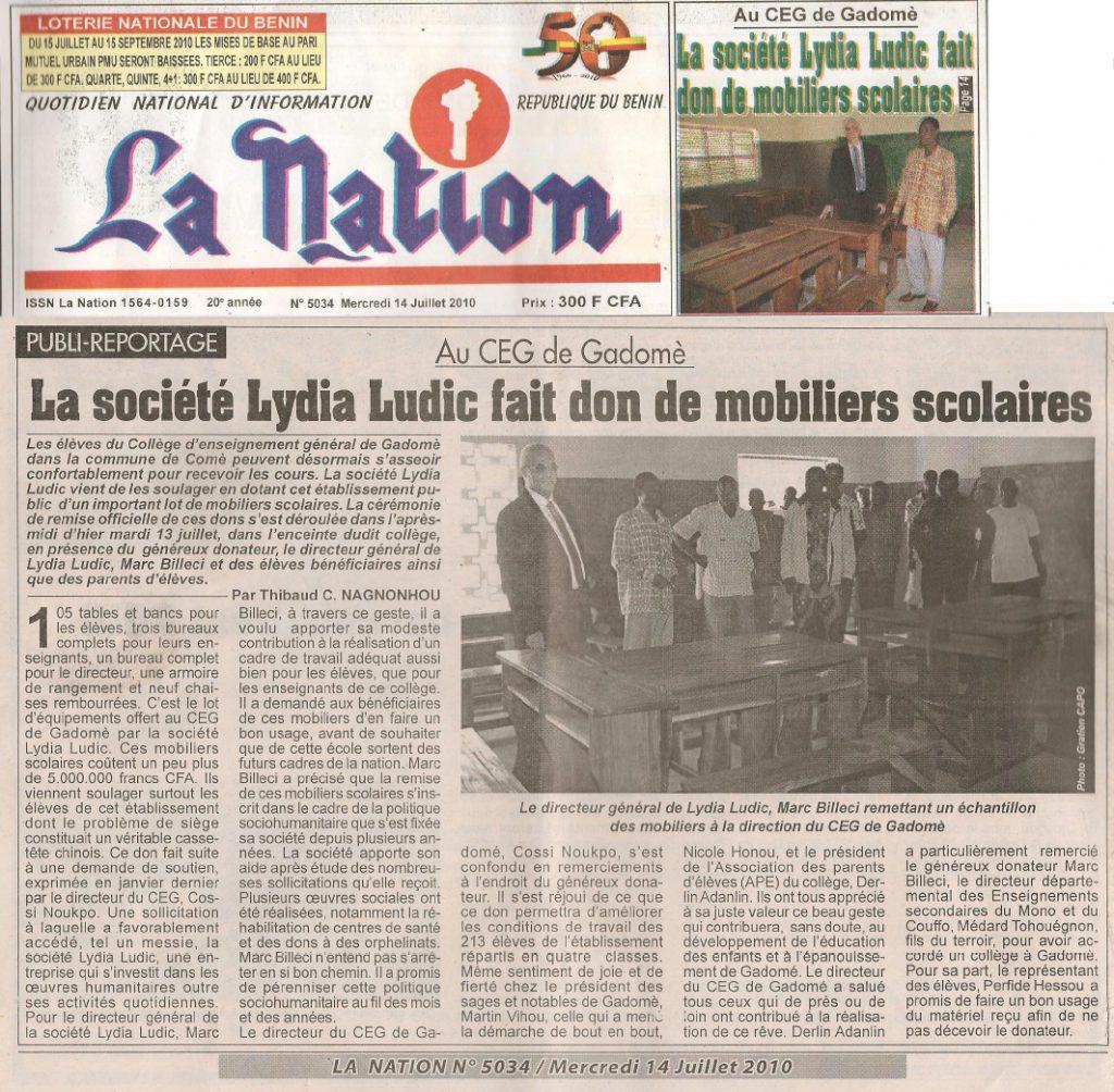 Lydia Ludic dans le journal La Nation Nº5034 du mercredi 14 juillet 2010 : La société Lydia Ludic fait don de mobiliers scolaires