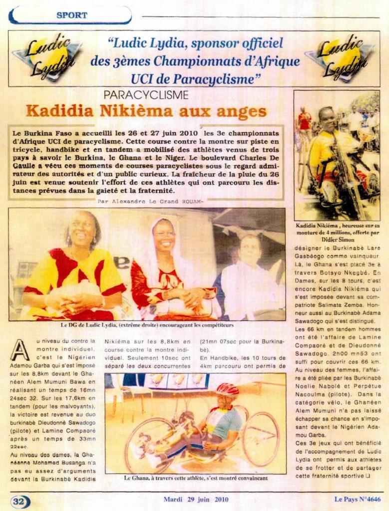 Lydia Ludic dans le journal Le Pays Nº4646 du vendredi 29 juin 2010 - PARACYLCISME - Lydia Ludic, sponsor officiel des 3èmes Championnats d'Afrique UCI de Paracyclisme