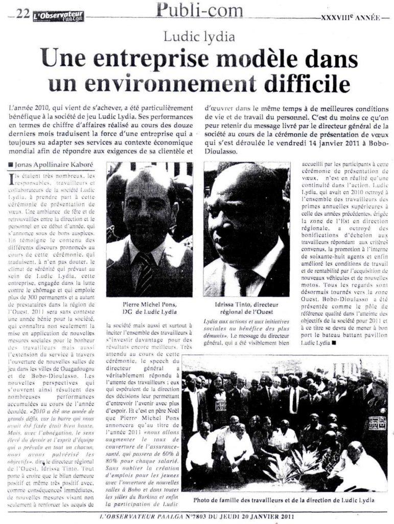 Lydia Ludic dans le journal L'Observateur Paalga Nº7803 du jeudi 20 janvier 2011 : Lydia Ludic - Une entreprise modèle dans un environnement difficile