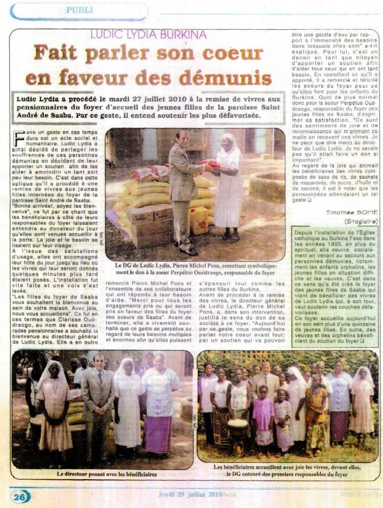 Lydia Ludic dans le journal Le Pays du jeudi 29 juillet 2010 - Lydia Ludic Burkina Faso fait parler son coeur en faveur des démunis