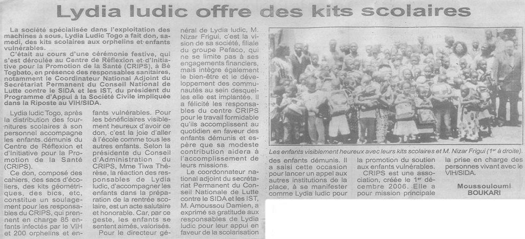 Lydia Ludic Togo apporte une donation aux enfants du CRIPS - Octobre 2010