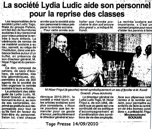 Lydia Ludic dans le journal Togo-Presse du 14 septembre 2010 : La société Lydia Ludic aide son personnel pour la reprise des classes