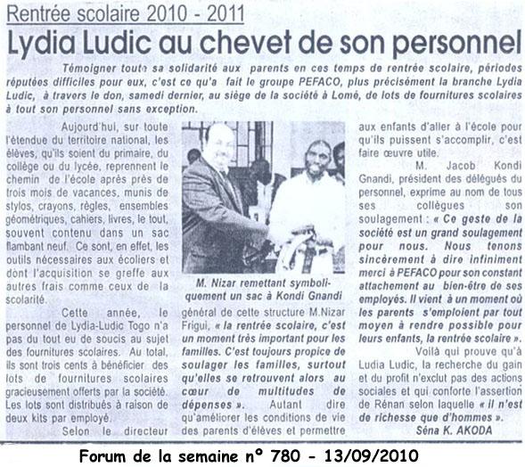 Lydia Ludic dans le journal Forum de la Semaine du 13 septembre 2010 : Rentrée scolaire 2010/2011 - Lydia Ludic au chevet de son personnel