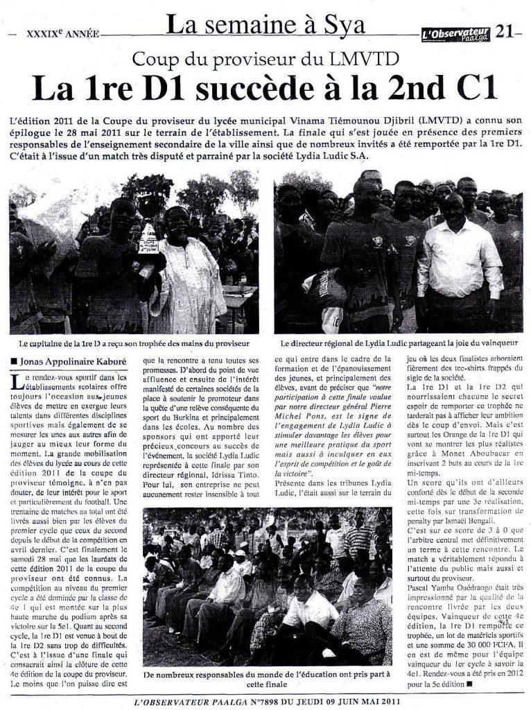 Lydia Ludic dans le journal L'Observateur Paalga Nº7898 du jeudi 9 juin 2011 : Coupe du proviseur du LMVTD - La 1re D1 succède à la 2nd C1