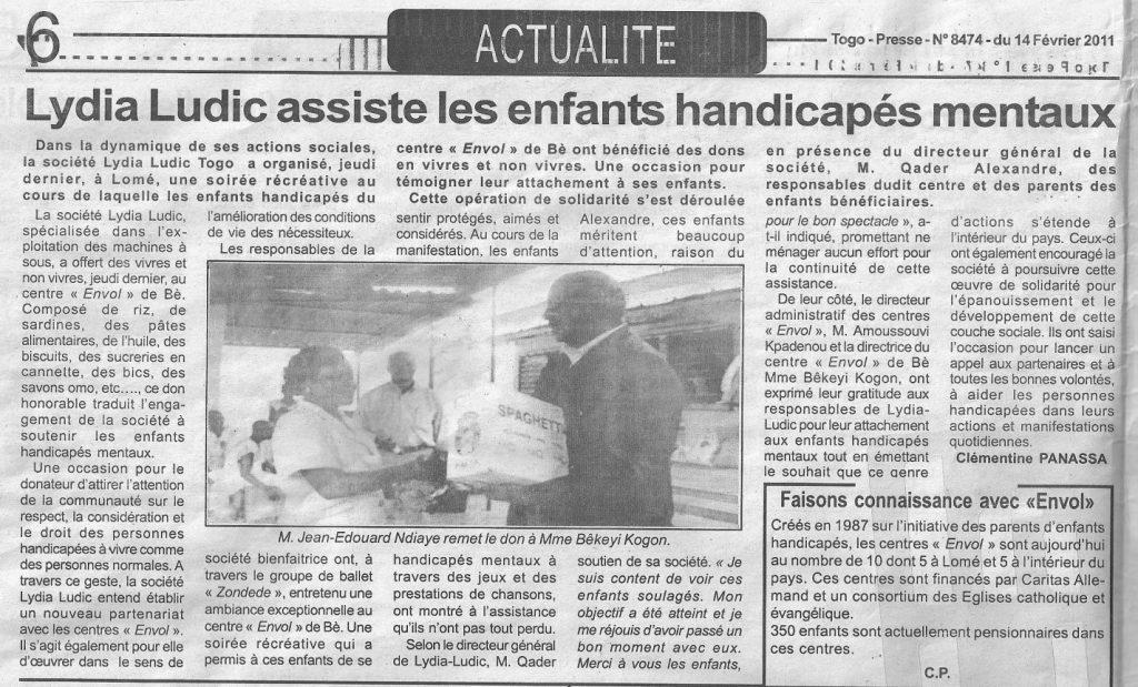 Lydia Ludic dans le journal Togo-Presse Nº8474 du 14 février 2011 : Lydia Ludic assiste les enfants handicapés mentaux