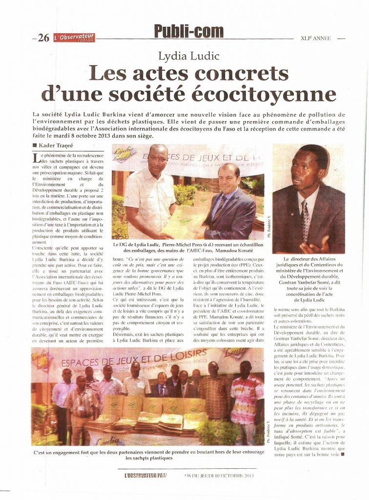 L'Observateur Paalga du jeudi 10 octobre 2013 - LYDIA LUDIC - Les actes concrets d'une société écocitoyenne