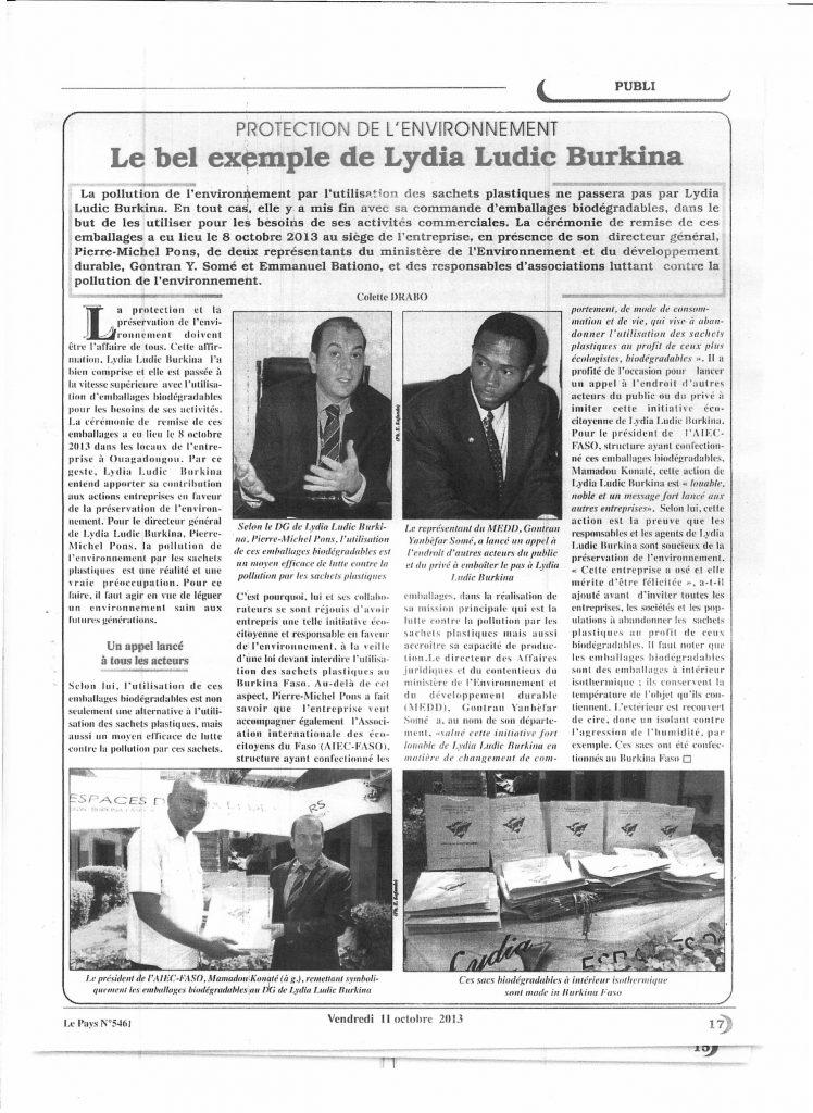 Le Pays Nº5461 du vendredi 11 octobre 2013 - PROTECTION DE L'ENVIRONNEMENT - Le bel exemple de Lydia Ludic Burkina Faso