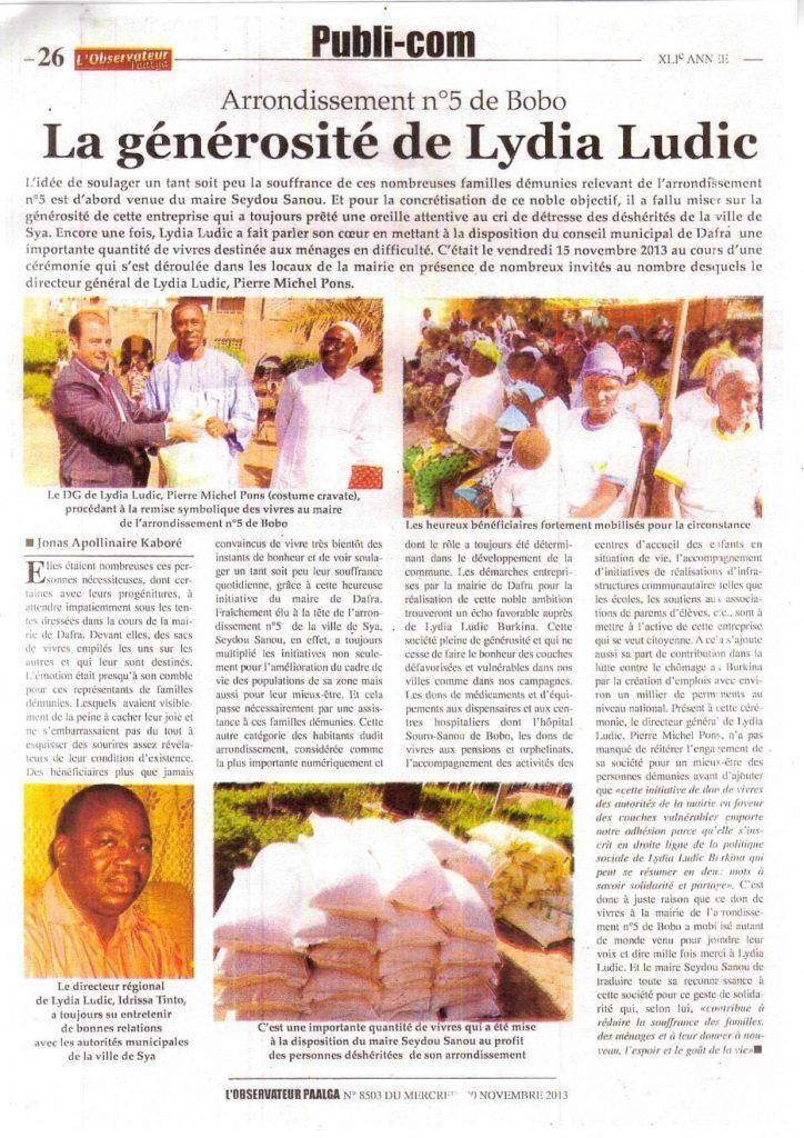 L'Observateur Paalga Nº8503 du Mercredi 20 Novembre 2013 - ARRONDISSEMENT Nº5 DE BOBO - La générosité de Lydia Ludic