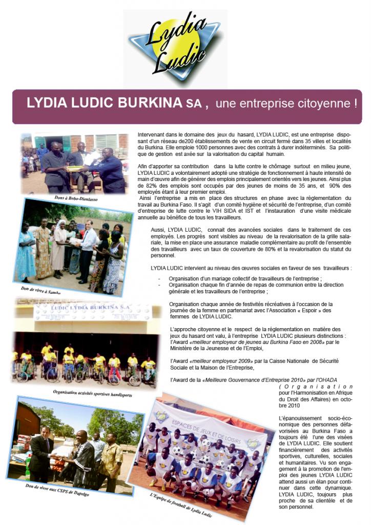 Lydia Ludic dans le magazine bimensuel FasoZine - Mai 2013