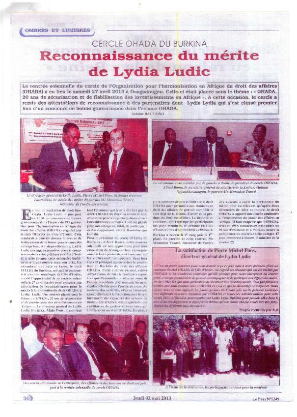 Lydiaa Ludic dans le journal Le Pays Nº5349 du jeudi 2 mai 2013 - Cercle OHADA du Burkina - Reconnaissance du Mérite de Lydia Ludic