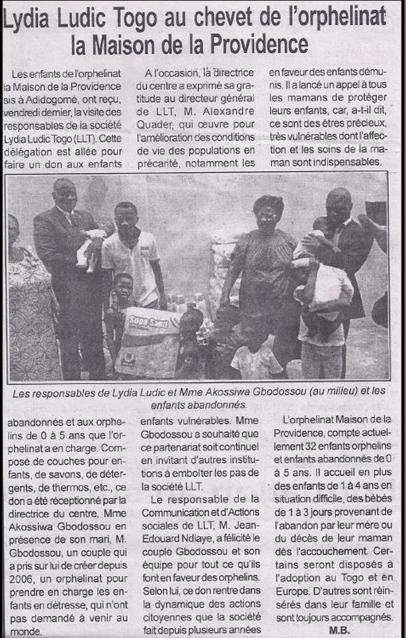 Lydia Ludic dans le journal Togo-Presse - Lydia Ludic Togo au chevet de l'orphelinat la Maison de la Providence