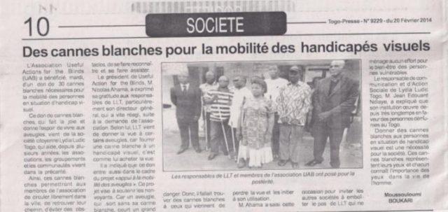 Togo-Presse Nº9229 - 20 février 2014 - Des cannes blanches pour la moitié des handicapés visuels