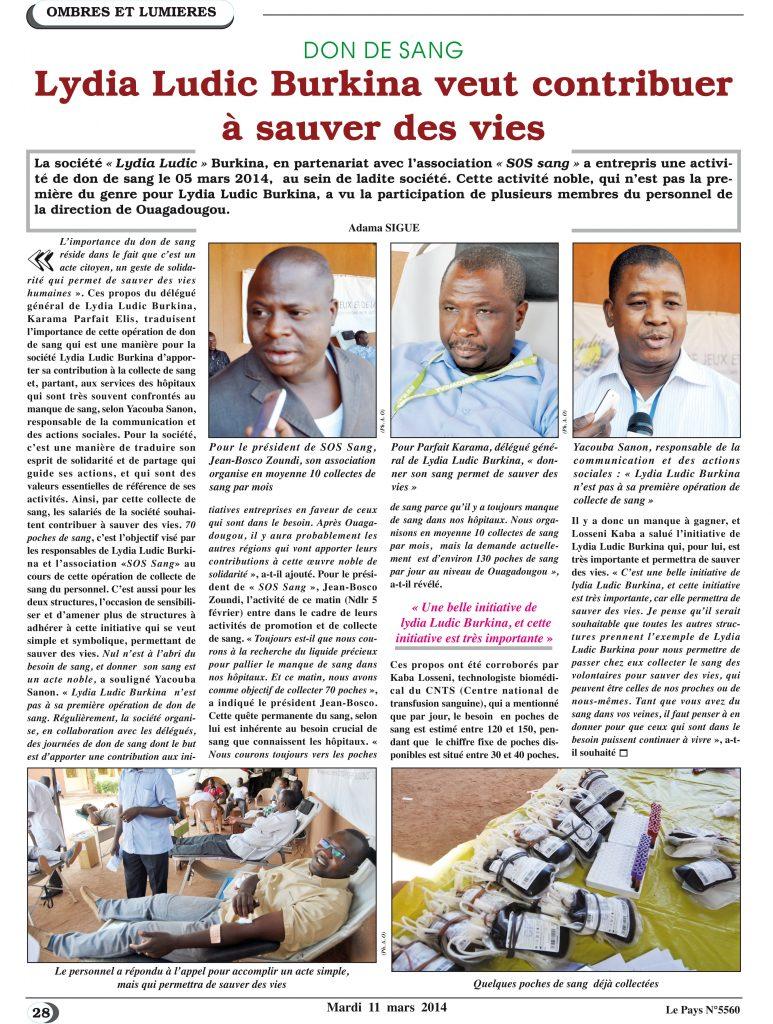 SANTÉ – Lydia Ludic Burkina Faso dans le quotidien burkinabé Le Pays n° 5560 (11 mars 2014) : DON DE SANG - Lydia Ludic Burkina veut contribuer à sauver des vies