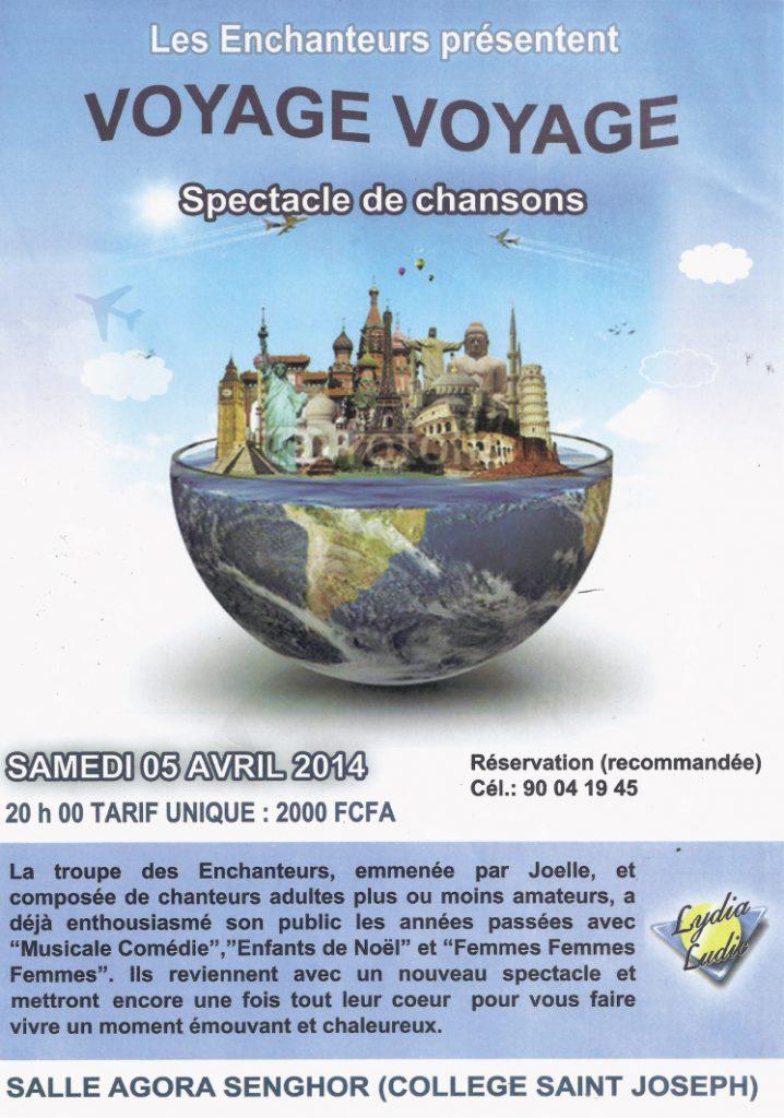 """Lydia Ludic Togosoutient la culture et sponsorise le spectacle """" Voyage Voyage"""" - Avril 2014"""