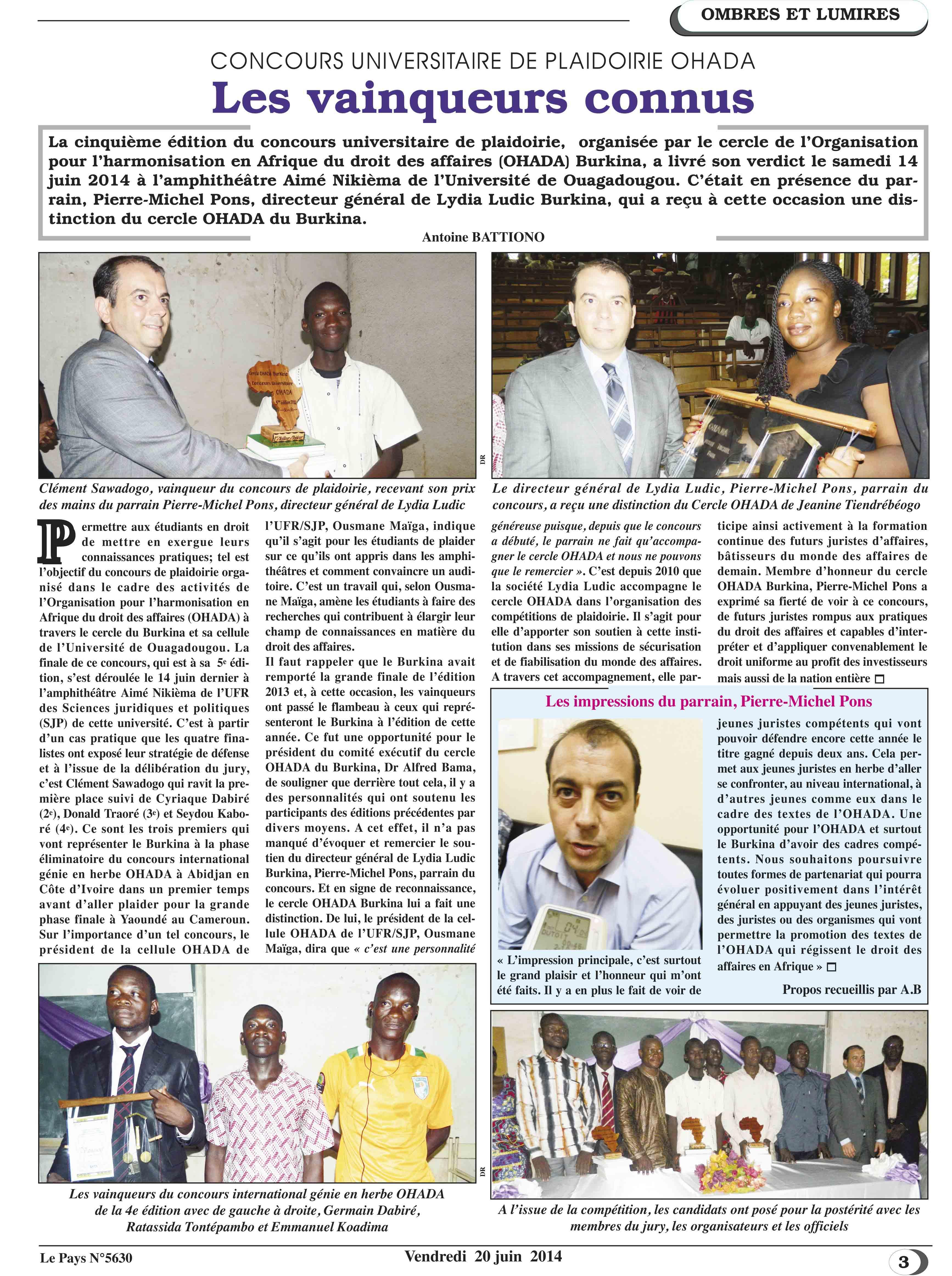 Lydia Ludic Burkina Faso dans le quotidien burkinabé Le Pays n° 5630 (20 juin 2014) : CONCOURS UNIVERSITAIRE DE PLAIDOIRIE OHADA - Les vainqueurs connus