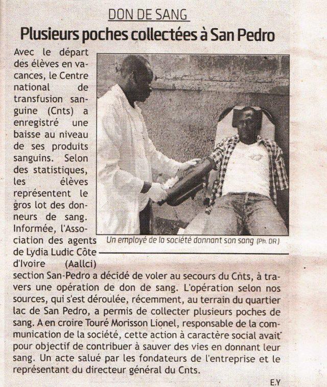 Les employés de Lydia Ludic Côte d'Ivoire donnent leur sang - Septembre 2014