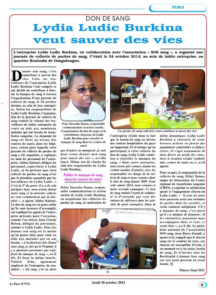 SANTÉ – Lydia Ludic Burkina Faso dans le quotidien burkinabé Le Pays n° 5721 (30 octobre 2014) : DON DE SANG - Lydia Ludic Burkina veut sauver des vies